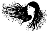 woman with music notes in her hair, vector